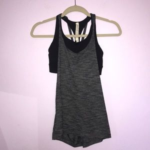 Lululemon Twist and Toil Tank Heathered Black